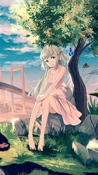 Cute Anime Girl Sunset Illustration Art iPhone 8 wallpaper