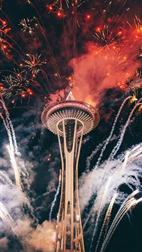Firework Night Sky Lovely Tower City iPhone 8 wallpaper