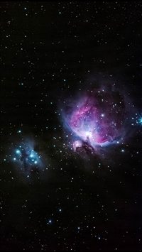 Blue And Pink Nebula Shiny In Outer Space iPhone 8 wallpaper
