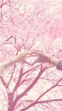 Blossom Love Finger Shape Romantic iPhone 8 wallpaper