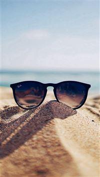 Nature Glass Sun Rayban Bokeh Vacation Sea Summer iPhone 6(s)~8(s) wallpaper