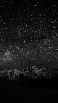 Starry Night Sky Mountain Nature Bw Dark iPhone 6(s)~8(s) wallpaper