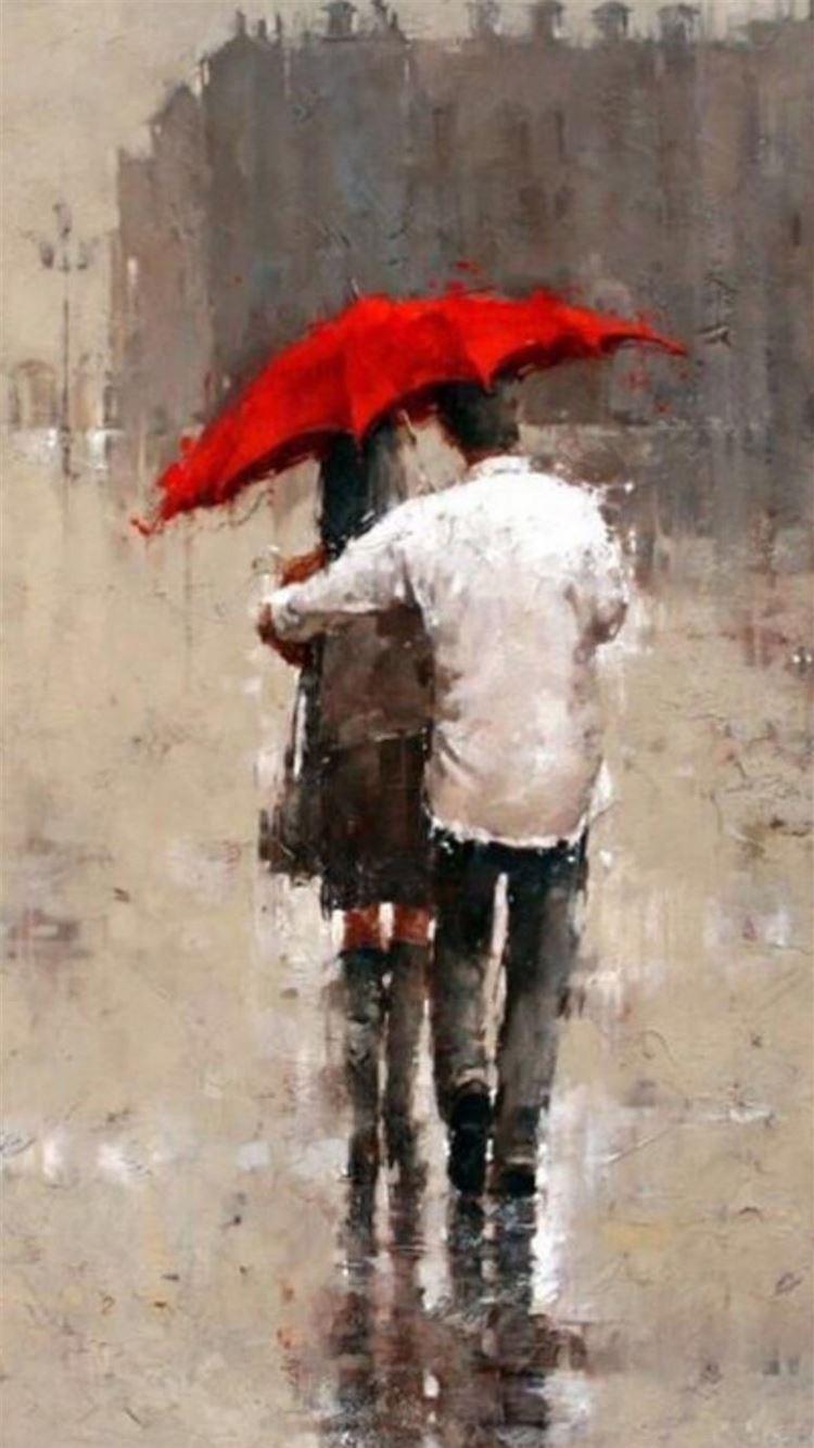 Rainy Romantic Lover Couple Back Art iPhone 8 wallpaper