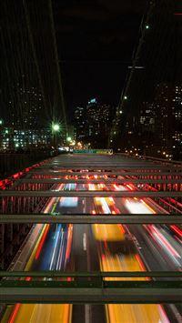Street Night Light Car Busy Road iPhone 8 wallpaper
