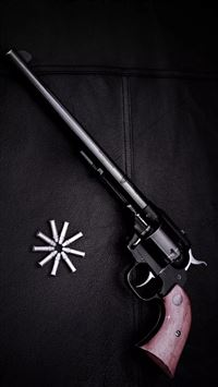 Revolver Gun Dark Background iPhone 8 wallpaper