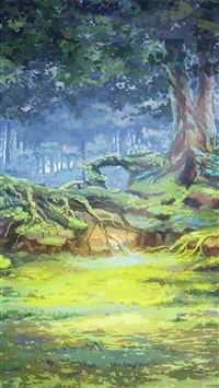 Nature Grove Tree Grassland Illustration Art iPhone 6(s)~8(s) wallpaper