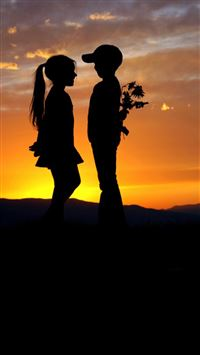 Mountain Top Cute Lovely Kids Silhouette Romantic Scene iPhone 8 wallpaper
