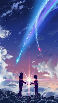 Your Name Movie Touching Through Space Poster iPhone 6(s)~8(s) wallpaper