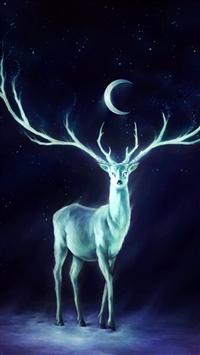 Deer Horns Moon Stars iPhone 8 wallpaper