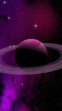 Space Planet Saturn Star Art Illustration Purple iPhone 8 wallpaper