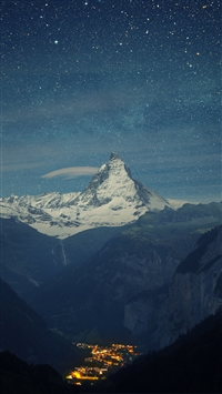 Switzerland Alps Mountains Night Beautiful Landscape iPhone 8 wallpaper