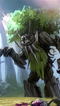 Dota 2 Treant Protector Trees Art iPhone 8 wallpaper