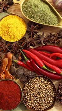 Spices Seasonings Red Pepper Black Pepper Star Anise Onion Ginger Garlic Walnuts Bay Leaf iPhone 8 wallpaper