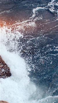 Rock Wave Sea Ocean Nature Blue Flare iPhone 8 wallpaper