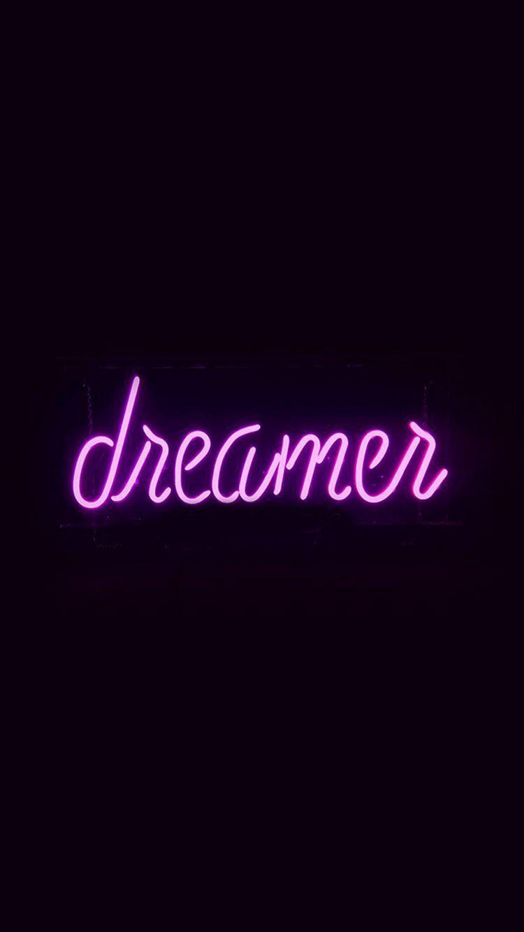 Dreamers Neon Sign Dark Illustration Art Purple iPhone 8 Wallpaper