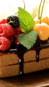 Cake Chocolate Frosting Berries Cherries Raspberries Currants Blackberries Mint Sweet Dessert iPhone 8 wallpaper