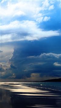 Sea Ocean Evening Beach Sand Sky Clouds iPhone 8 wallpaper