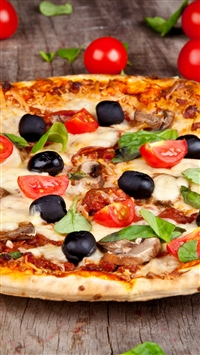 Pizza Tomatoes Olives Mushrooms Cheese Dish Leaves Food iPhone 8 wallpaper