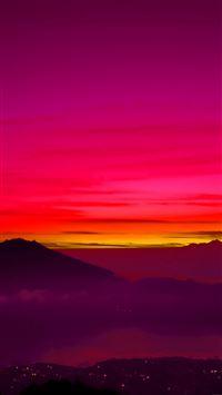 Red Balinese Dream Sea Mountain Sunset IPhone 8 Wallpaper