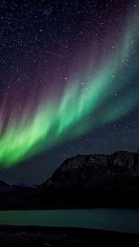 Aurora Night Sky Mountain Space Nature iPhone 8 wallpaper