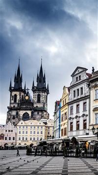 Czech Republic Prague Street Building Evening iPhone 8 wallpaper
