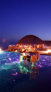 Maldives Tropical Resort Evening iPhone 8 wallpaper