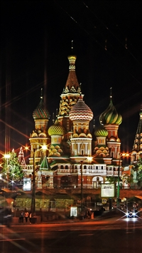 Moscow Russia Red Square Light Evening iPhone 8 wallpaper