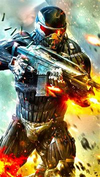 Crysis Fire Boom Bullet Steel Fight iPhone 8 wallpaper