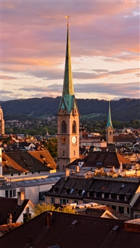 Zurich Switzerland Roofs Buildings Sky iPhone 8 wallpaper
