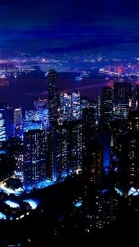 Night City Sky Skyscrapers iPhone 8 wallpaper