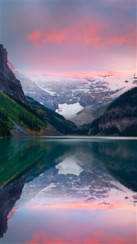 Mountains Sunset Lake Sky Snow Peaks iPhone 8 wallpaper