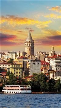 Istanbul Turkey Sea Buildings iPhone 8 wallpaper