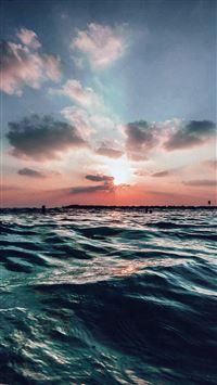 Sunset Sea Sky Ocean Summer Blue Water Nature iPhone 6(s)~8(s) wallpaper