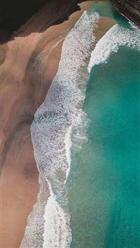 Beach Mountain Sea Nature iPhone 8 wallpaper