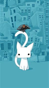 Cute City Bird And Cat Illustration iPhone 8 wallpaper