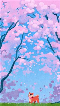 Cute Siba Dog Animal Spring Illustration Art iPhone 8 wallpaper