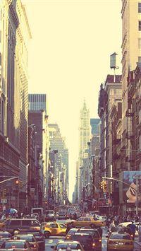 New York Busy Street Sunset iPhone 8 wallpaper