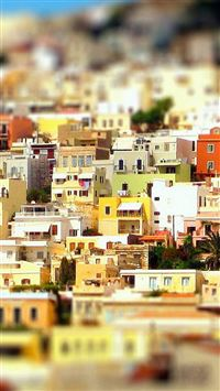 Syros Greece Houses Colorful iPhone 8 wallpaper