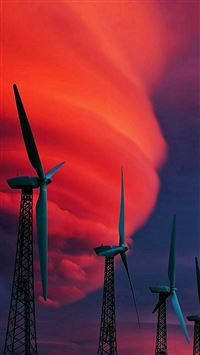 Wind Turbines Red Clouds iPhone 8 wallpaper