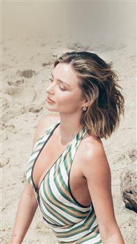 Girl Miranda Kerr Beach Summer iPhone 8 wallpaper