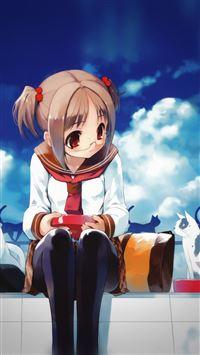 Girl And Cat Anime Illust Art Blue Day iPhone 8 wallpaper