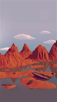 Low Poly Art Mountain Red Illust Art iPhone 8 wallpaper