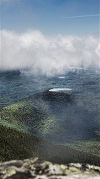 Mountain Green Fog Cloud Nature View iPhone 8 wallpaper