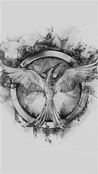 Hunger Games Mockingjay Black Logo Art iPhone 8 wallpaper