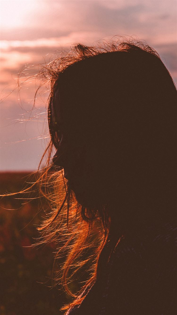 Side Girl Shadow Sunset Field Nature iPhone 8 wallpaper