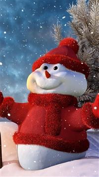 Christmas snowman iPhone 8 wallpaper