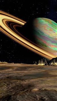 Planet saturn space ring iPhone wallpaper
