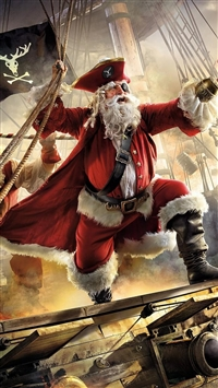 Santa claus pirate ship iPhone 8 wallpaper