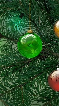 Tree christmas decorations garland iPhone 8 wallpaper