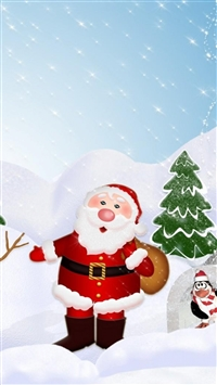 Tree santa claus snowman penguin iPhone 8 wallpaper